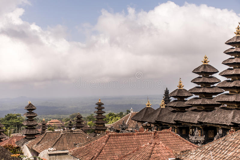Towers and roof of Pura besakih big mother temple Bali Indonesia stock photo
