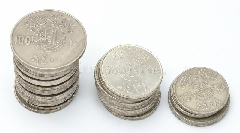 Towers of Saudi Coins Currency royalty free stock image