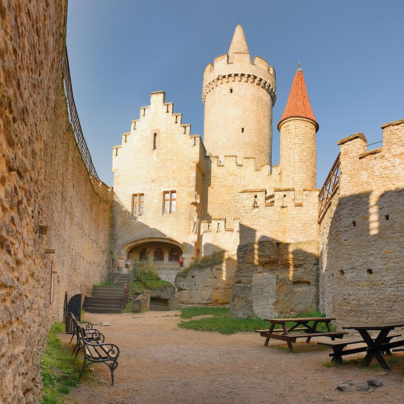 Towers seen from courtyard of Kokorin castle in Kokorinsko landscape area in autumnal Czech republic at morning royalty free stock photos