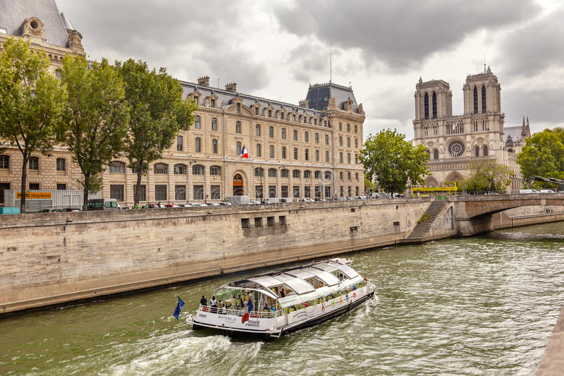 Towers Seine River Bridge Notre Dame Cathedral Paris France royalty free stock photo