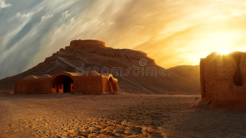 Towers of silence at sunset. Iran. The historical site of ancient Persia. royalty free stock images