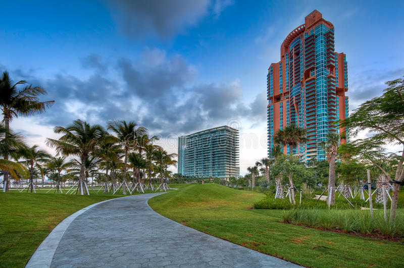 Towers at South Pointe Park stock images