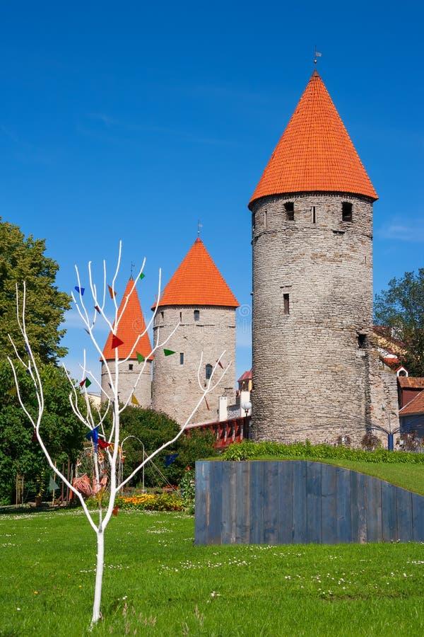 Towers of Tallinn. Estonia. Medieval towers with red tile roofs. Tallinn, Estonia stock photo