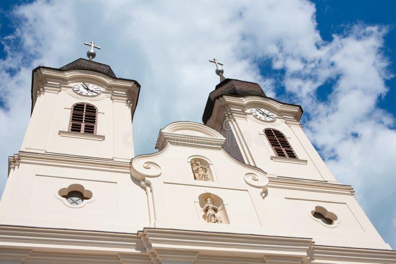 The towers of the Tihany Abbey at Lake Balaton stock photo