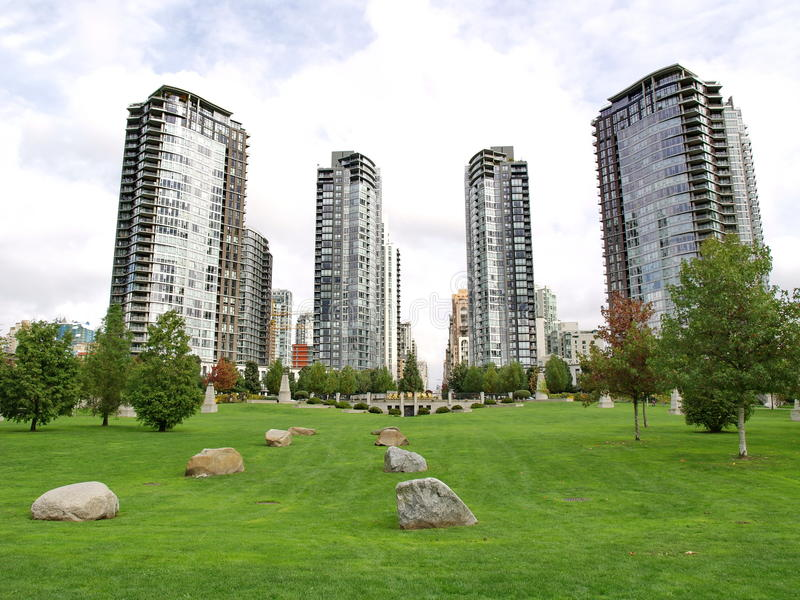 Towers of Vancouver city stock photography