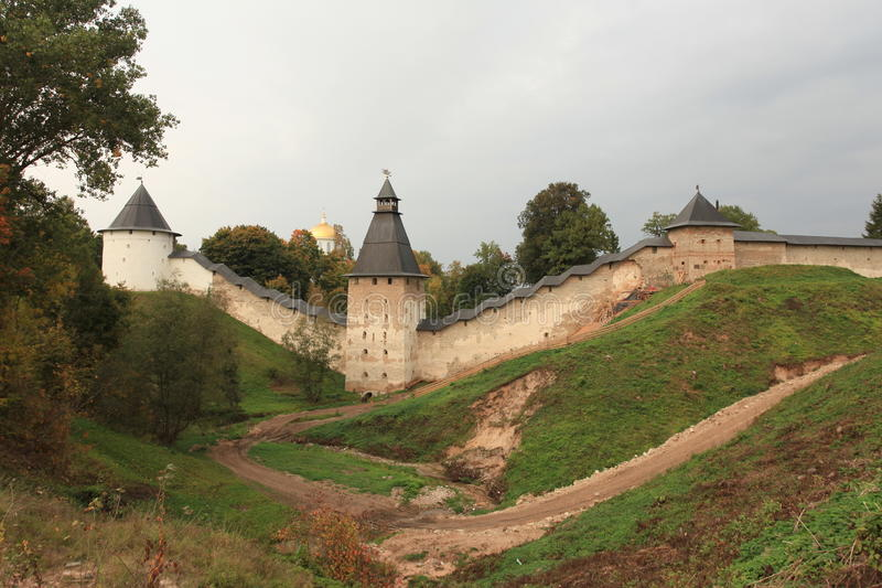 Towers and walls of the old Pskov fortress. Pskov , Russia,September 21, 2013 Towers and walls of the old fortress royalty free stock photography