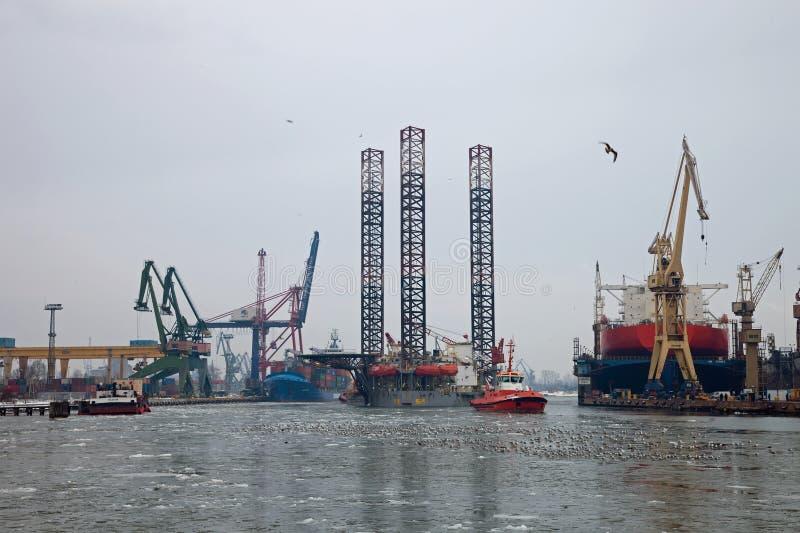 Towing platform in port stock photos