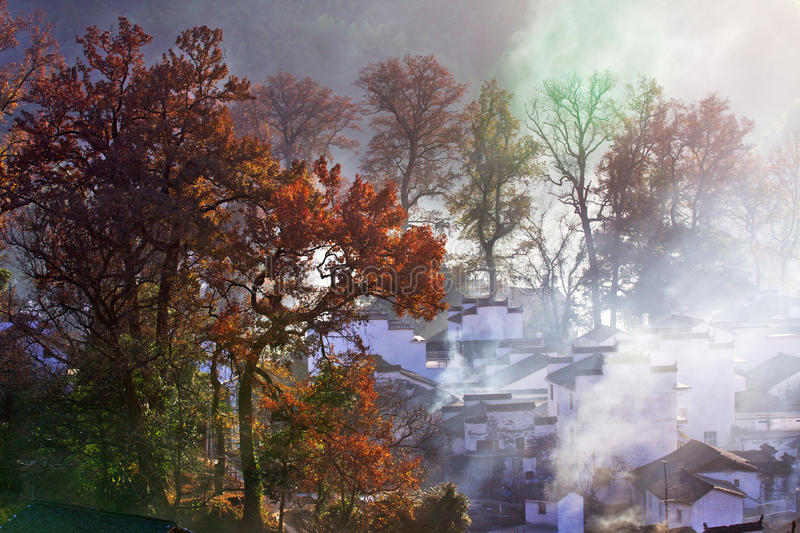 Town. It is a chinese town in autumn royalty free stock image