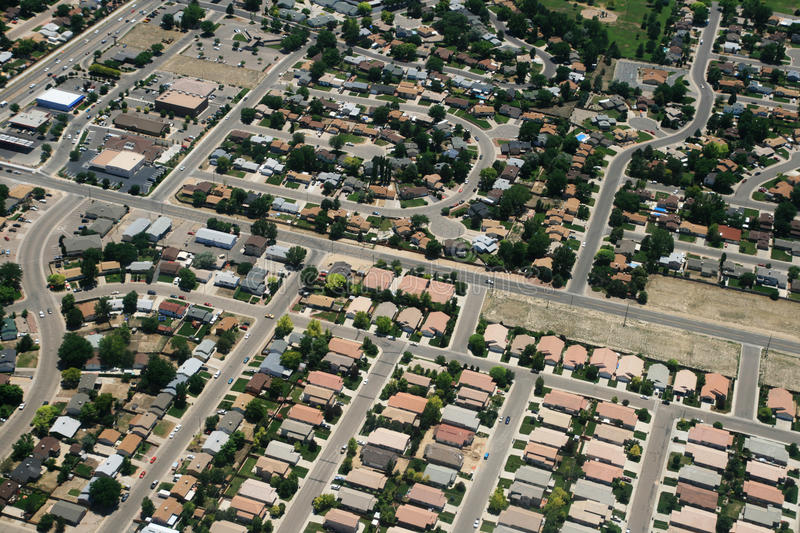 Town aerial photograph. Aerial photograph of housing in a town in the USA royalty free stock images