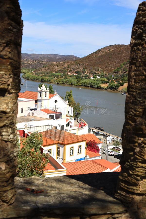 Alcoutim in Portugal at the river Rio Guadiana royalty free stock photography