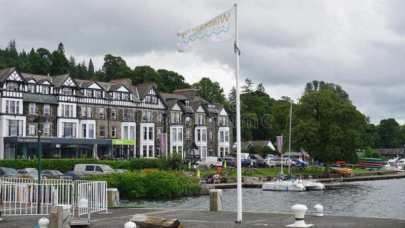 The town of Ambleside on Lake Windermere. AMBLESIDE, UNITED KINGDOM -The town of Ambleside on Lake Windermere is a popular resort in the Lake District in Cumbria stock photography