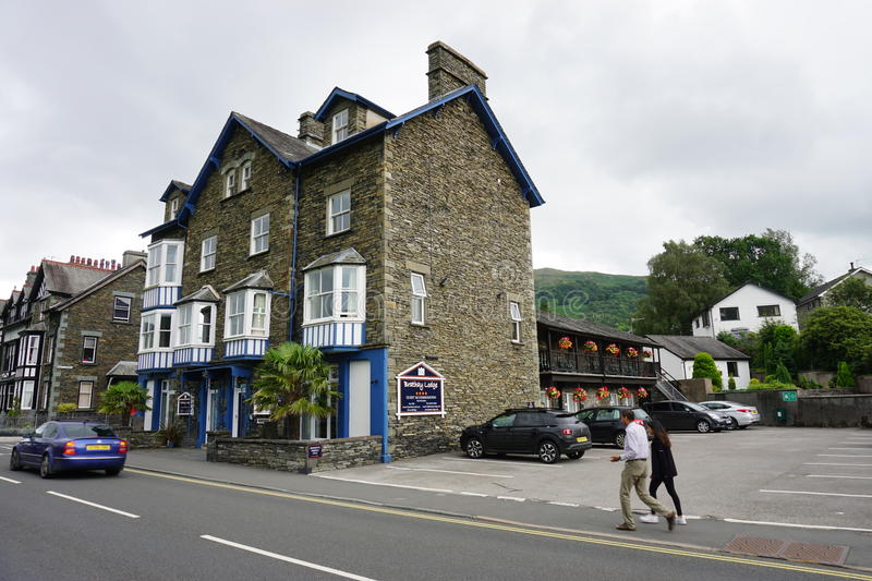 The town of Ambleside on Lake Windermere. AMBLESIDE, UNITED KINGDOM -The town of Ambleside on Lake Windermere is a popular resort in the Lake District in Cumbria royalty free stock photo