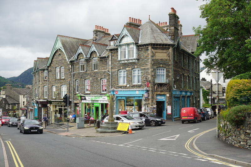 The town of Ambleside on Lake Windermere. AMBLESIDE, UNITED KINGDOM -The town of Ambleside on Lake Windermere is a popular resort in the Lake District in Cumbria royalty free stock photography