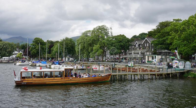 The town of Ambleside on Lake Windermere. AMBLESIDE, UNITED KINGDOM -The town of Ambleside on Lake Windermere is a popular resort in the Lake District in Cumbria stock photo