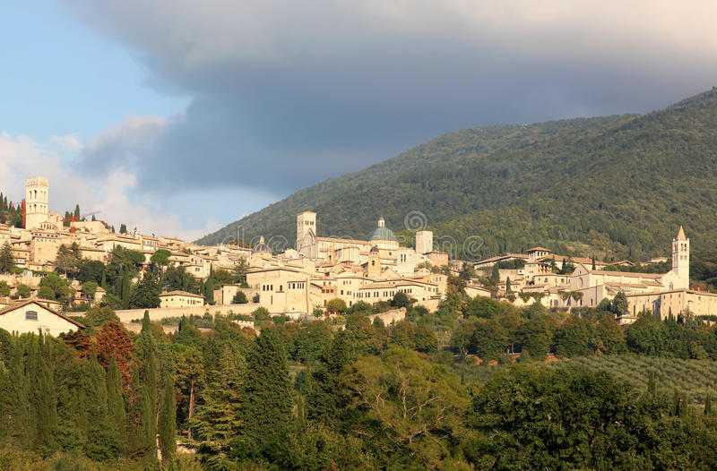 Town of Assisi in Umbria, Perugia, Italy. Assisi is best known as the birthplace of St. Francis of Assisi — patron saint of Italy, founder of the royalty free stock photography