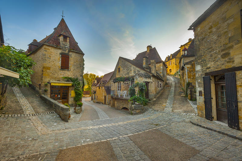 Town Av Beynac, Frankrike Royaltyfria Foton