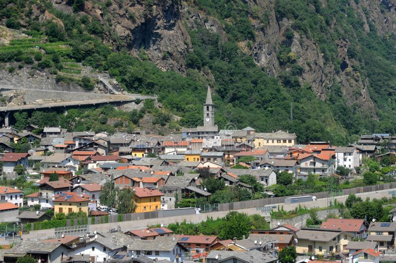 The town of Bard beginning of the Aosta Valley - Italy stock photography