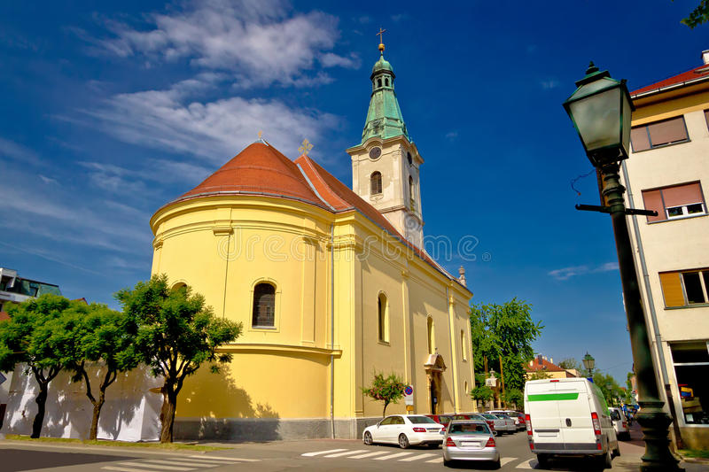 Town of Bjelovar square and church. Northern Croatia royalty free stock photo