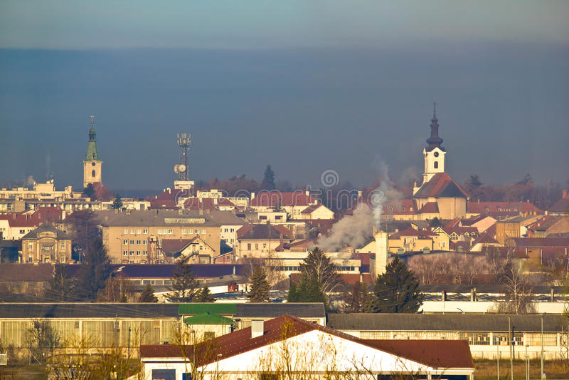 Town of Bjelovar winter skyline. Bilogora region, Croatia stock photo