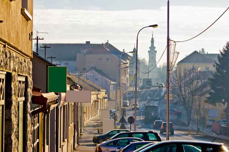 Town of Bjelovar winter streets stock photo