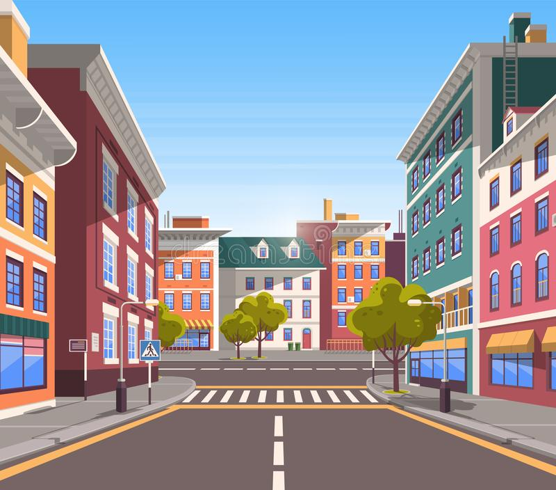 Modern City Street, Realistic Tranquil Town Look vector illustration