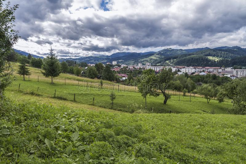 The town of Campulung-Moldovenesc after a day of rain, the sun a royalty free stock image