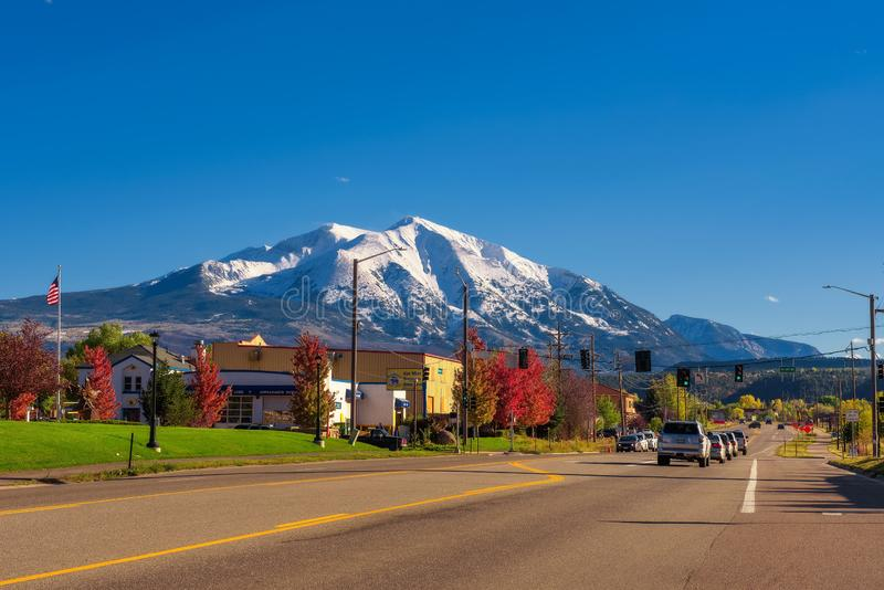 Town of Carbondale facing Mount Sopris in the Elk Mountains. Carbondale, Colorado, USA - October 13, 2018 : Town of Carbondale facing Mount Sopris in the royalty free stock photo