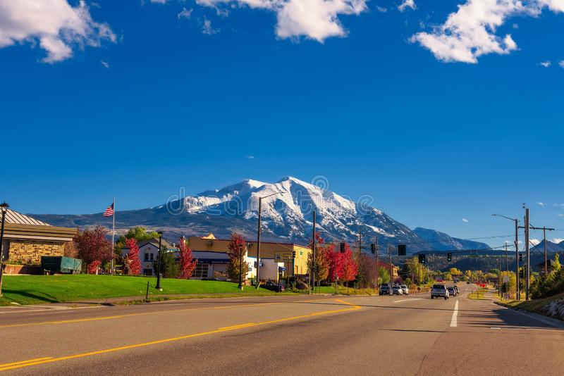 Town of Carbondale facing Mount Sopris in the Elk Mountains. Carbondale, Colorado, USA - October 13, 2018 : Town of Carbondale facing Mount Sopris in the stock images