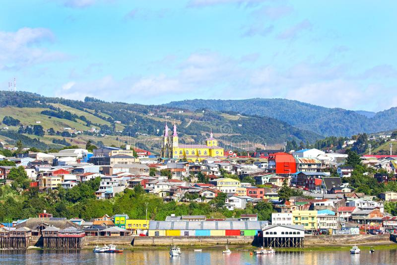 Town of Castro, colourful Waterfront. Chiloe Island, Patagonia, Chile. Sunny Day royalty free stock photography