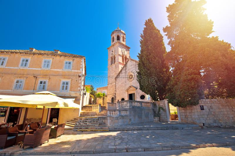 Town of Cavtat stone church sun haze view royalty free stock photos