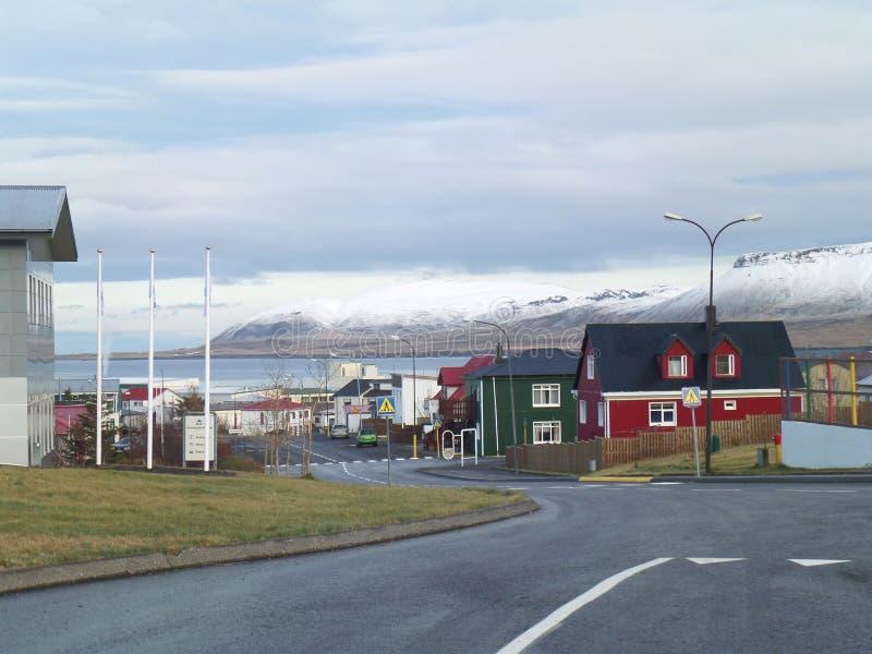 The Town centre of Grundarfjordur, Snaefellsnes Peninsula in Iceland royalty free stock photo
