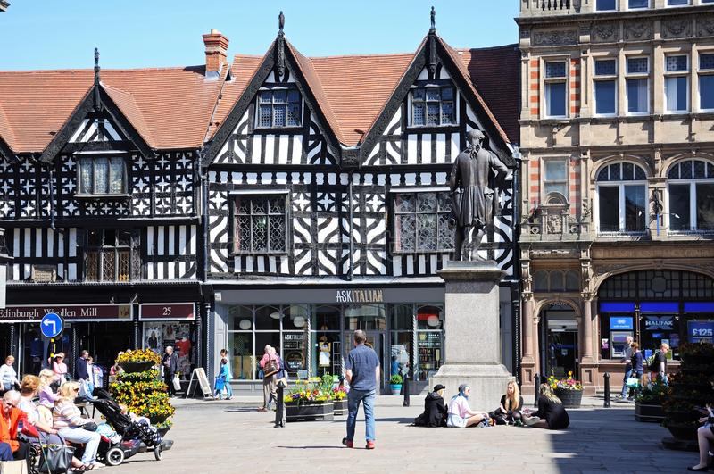 Town Centre Shops, Shrewsbury. royalty free stock images