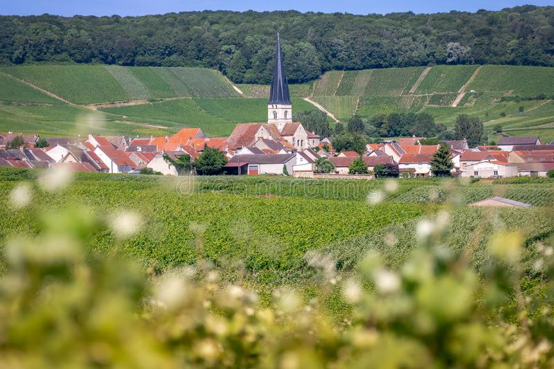 Chameny, France - The Town of Chameny, Set amidst the Vineyards on Hillsides of Champagne royalty free stock photo