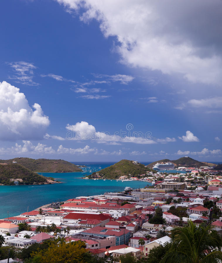 Download Town Of Charlotte Amalie And  Harbor Stock Image - Image: 18470831