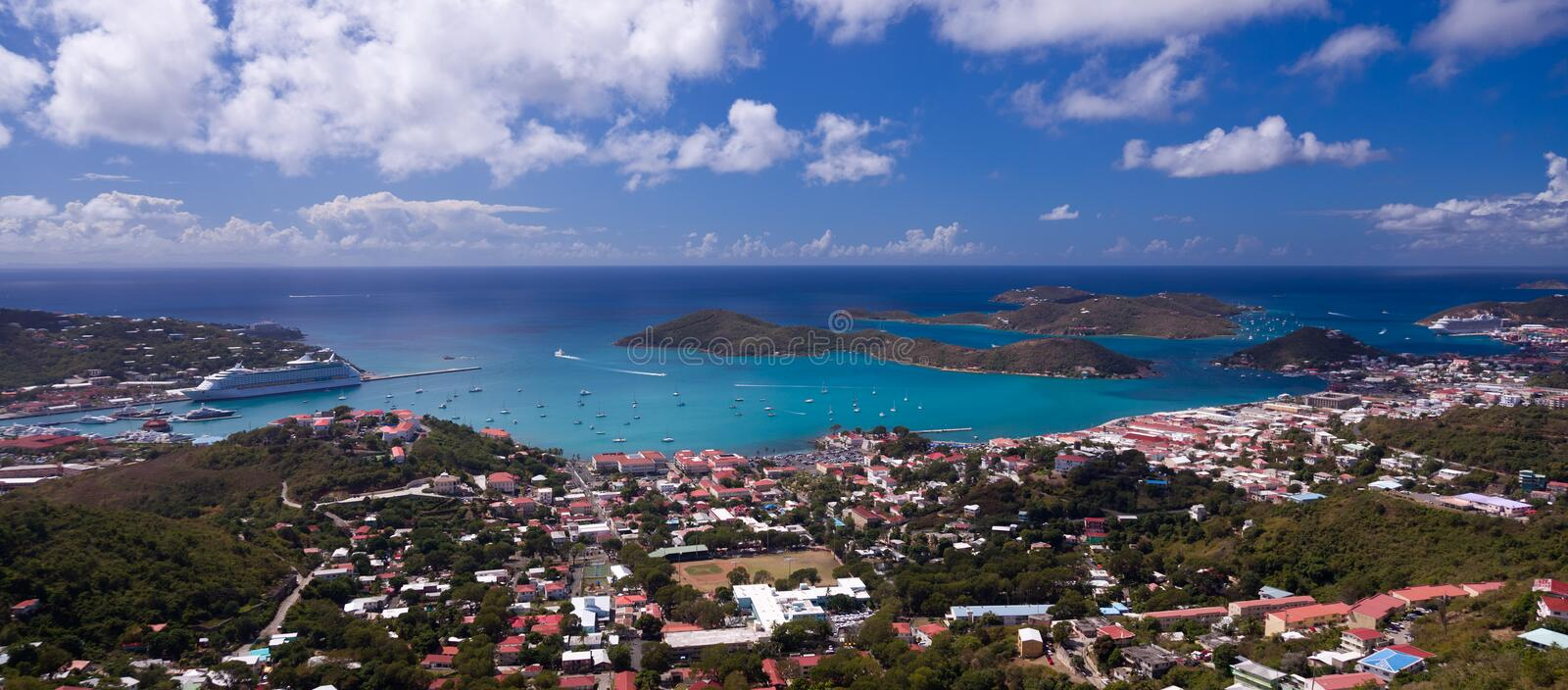 Download Town Of Charlotte Amalie And  Harbor Stock Photo - Image: 18470834