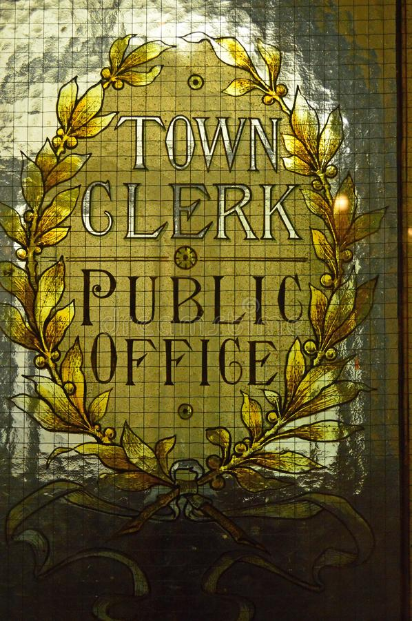 Town clerk office stained glass window in Glasgow City Chambers stock photo