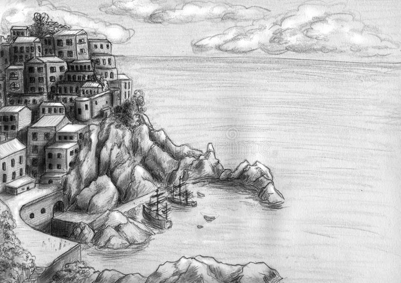 Town at the cliff by the sea. Romantic little town built all over the rocky island like a hive. It has docks, where two big vessels stay on anchor. Pencil royalty free illustration