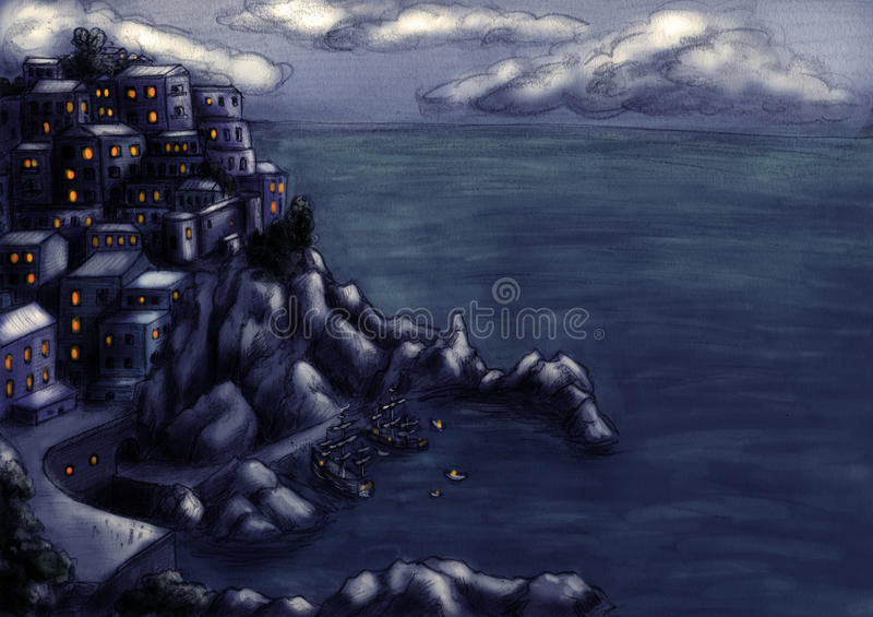 Download Town At The Cliff By The Sea 4 Stock Illustration - Image: 12561149