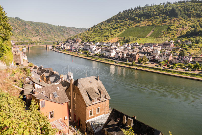 Town of Cochem with river Mosel. GERMANY - COCHEM - 23 AUGUST 2016: Town of Cochem with river Mosel stock photos