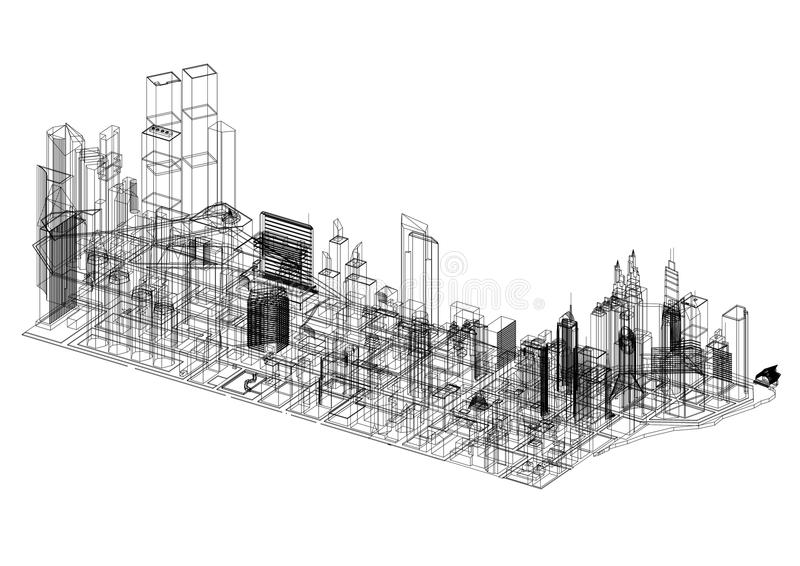 Town Concept Architect Blueprint - isolated royalty free illustration