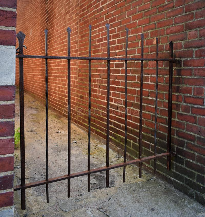 Town of Concord, Middlesex County, Massachusetts, United States. Architecture. Interesting old iron gate located in downtown Concord, Middlesex County stock photos