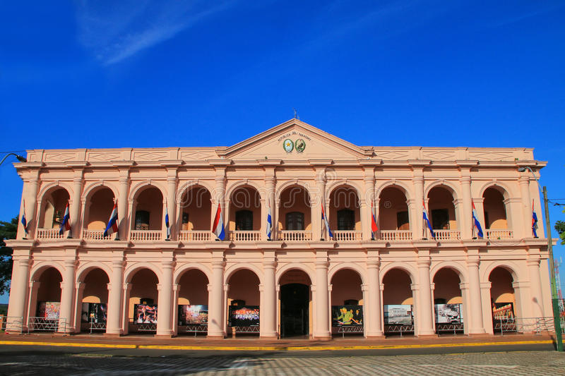 Town Council building (Cabildo) in Asuncion, Paraguay. It is home for Cultural Center of the Republic of Paraguay royalty free stock photo