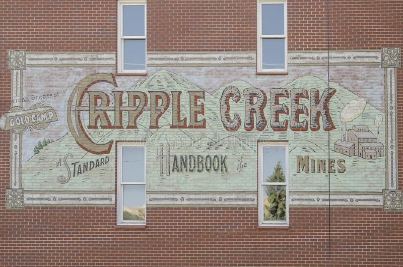 Town of Cripple Creek Sign. Sign painted on side of a building. Cripple Creek is a old gold mining town. Located in Colorado royalty free stock photos