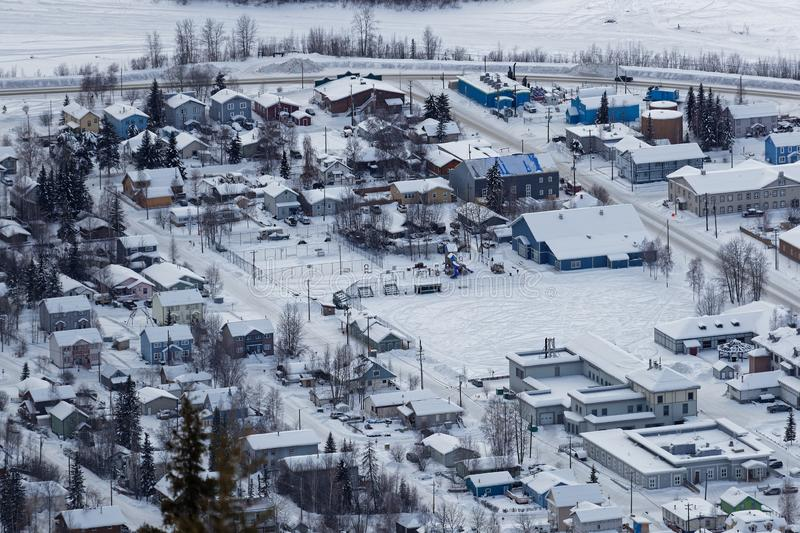 The town of Dawson city from Midnight Dome. The town of Dawson city, as seen from Midnight Dome stock image