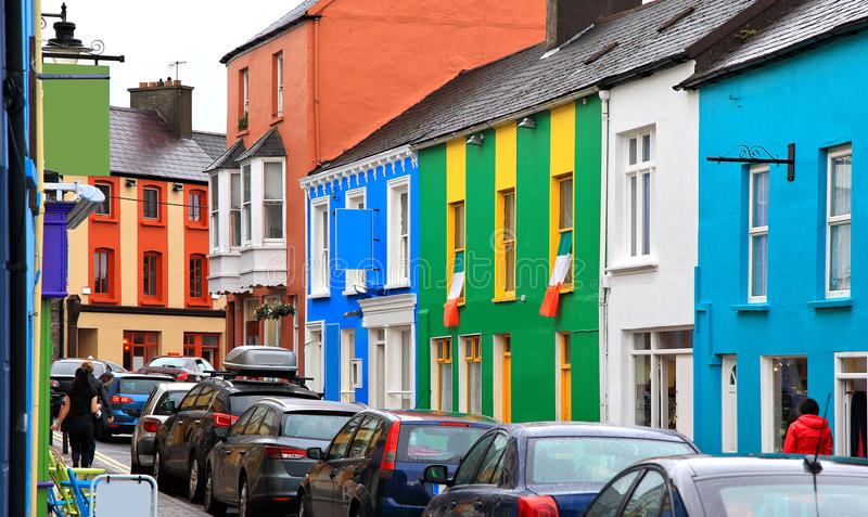 The town of Dingle,Ireland. A shopping street in the town of Dingle filled with colorful buildings royalty free stock image