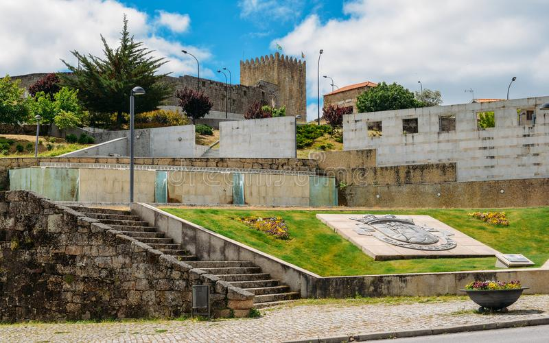 Town entrance to Belmonte with its castle, birthplace of 16th-century Portuguese explorer of New World, Pedro Alvares royalty free stock photography