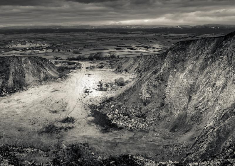 Quarry site!. Abandoned quarry from above sight stock photography