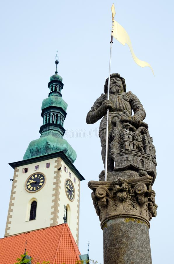 Town Fountain with Knight Sculpture, Tabor, Czech Republic. TABOR, CZECH REPUBLIC. 5th August 2019. The knight sculpture on the town fountain in the South stock photos
