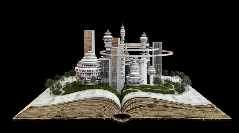Town growing from old book concept construction composition stock photos