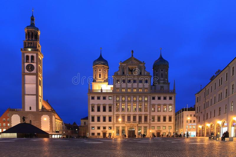 Augsburg. Town hall in Augsburg at sunset, Germany royalty free stock image